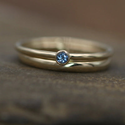 Aquamarine Yellow Gold Stacking Ring Set - Thick Gold Aquamarine Ring - Aquamarine Yellow Gold Ring - 14 kt Aquamarine