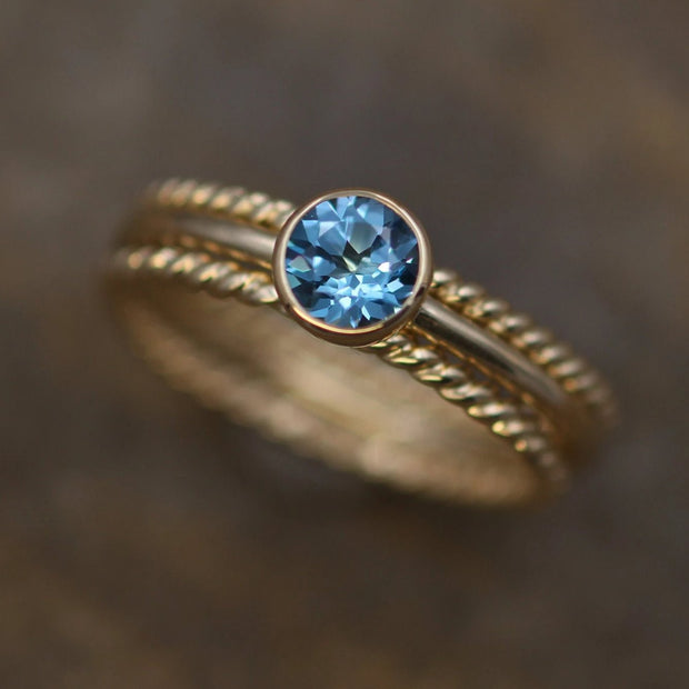 5mm Swiss Blue Topaz Rope Ring Set - 1.6mm Band Yellow Gold Stacking Ring - Topaz Gold Stacking Ring - Round Stacking Ring - Gold Ring