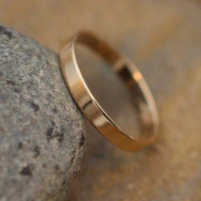 18kt Yellow Gold Wide Band 3x1mm with Glossy Finish - Hand Made in solid 18 kt Yellow Gold - Wide Band - Thin Gold Ring - Gold Band