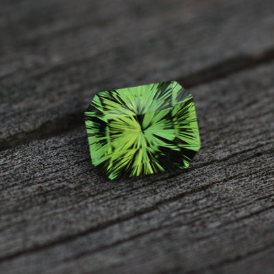 Green Tourmaline Octagon Fantasy Cut - 8.2x6.6mm - 2 ct - Precision Cut Gemstone