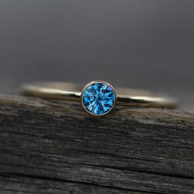 London Blue Topaz Yellow Gold Stacking Ring - Precision Cut London Blue Topaz Ring - Topaz Bezel Ring
