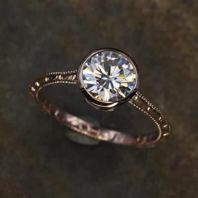 Moissanite 7mm Near Colorless Wheat Engraved Band Vintage Inspired Engagement Ring