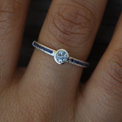 Star Cut Aquamarine and Sapphire Engagement Ring - Alternative Engagement Ring - Bezel Ring - Conflict Free Engagement Ring - Recycled