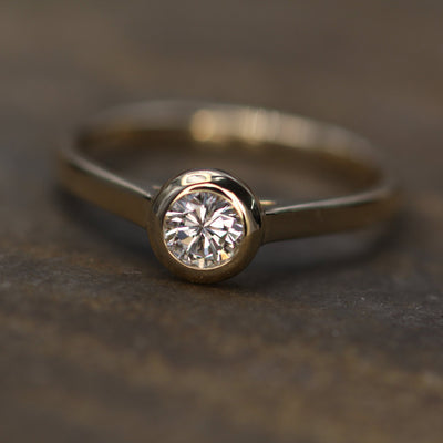 Diamond Peekaboo Yellow Gold Hand Made Vintage Inspired Engagement Ring