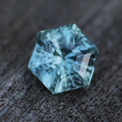 Salt & Pepper Montana Sapphire Hexagon 8x7mm, 2 Carats - Blue Green - Fantasy Cut