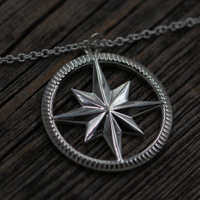 Compass Necklace - Ready To Ship - Compass Pendant - North Star Necklace - Silver Compass