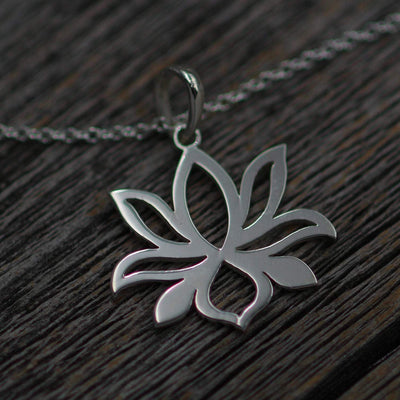 Lotus Flower Necklace - Ready To Ship - Sterling Silver - Lotus Pendant - Lotus Gift Necklace