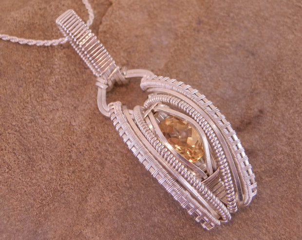 Citrine Pendant - Wire Wrapped Pendant - Citrine Necklace - Citrine Wire Wrapped Necklace - Heady Wrap - Novemeber Gift