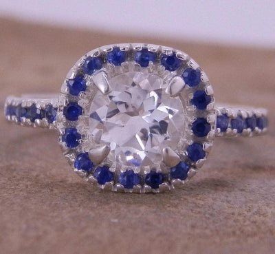 Alternative Engagement Ring - White Topaz and Sapphire  in Choice of  Recycled Sterling Silver or Karat Gold