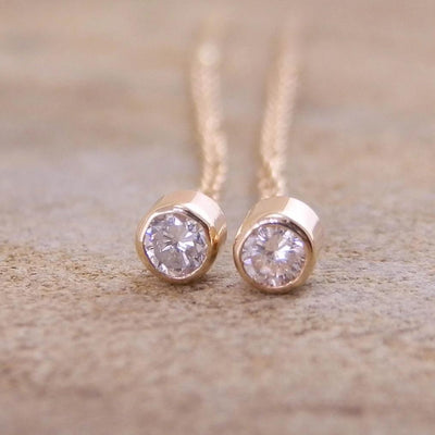 Diamond Threader Earrings - Diamond Stud Earrings - Gold Threader Earrings -hand made in 14 kt Yellow gold, 0.12 ct total weight,VS Clarity