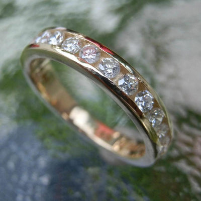 Diamond Gold Eternity Band - Diamond Ring - Large Diamond Band - Wedding Ring - Diamond Ring - Gold Ring - Half Eternity Band
