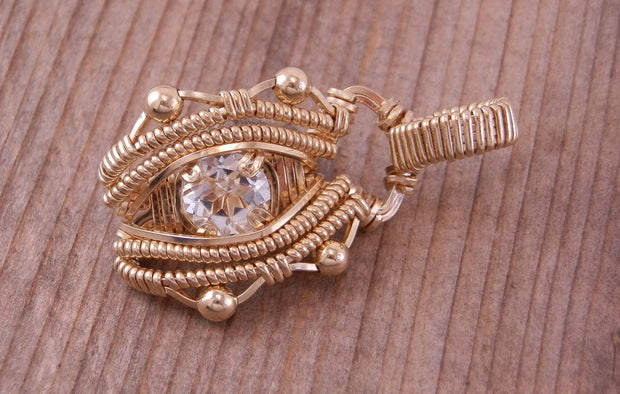 White Topaz Gold Necklace - Topaz Wire Wrapped Pendant - Gold Wire Wrapped Pendant - White Topaz Pendant - White Topaz Necklace