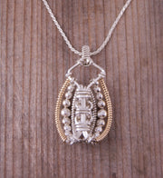 White Topaz Wire Wrapped Pendant - White Topaz Necklace - White Topaz Pendant - White Topaz Heady Wrap