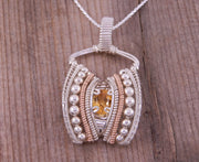Citrine Wire Wrapped Pendant - Citrine Pendant - Citrine Necklace - Wire Wrapped Pendant - Heady Wire Wrapped Pendant