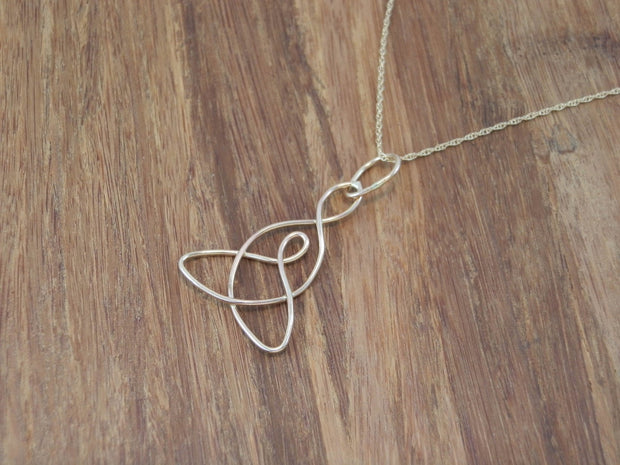 Celtic Pendant - Mother Child Knot Pendant - Celtic Necklace - Mother Child Necklace - in 14 kt yellow gold