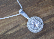 Halo Pendant - White Topaz  - Made in Choice of Recycled Sterling Silver or Karat Gold