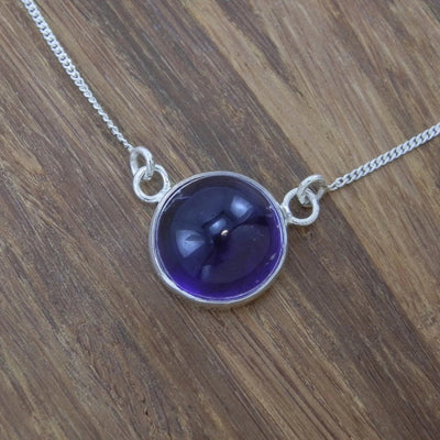 Amethyst Necklace - hand made - Choice of Sterling Silver or 14 kt Yellow Gold - Bezel Necklace - Dark Purple - Round Cabochon