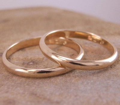 Yellow Gold Wedding Band Individual or Set - Engravable - Half Round - Traditional - Simple Wedding Band - Hand Made in 14 Kt Yellow Gold