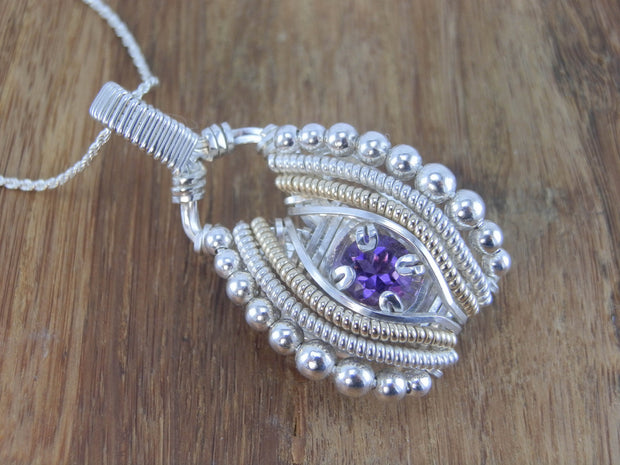 Amethyst Wire Wrapped Pendant - Amethyst Pendant - Amethyst Necklace - Amethyst Wrap - Wire Wrapped Pendant