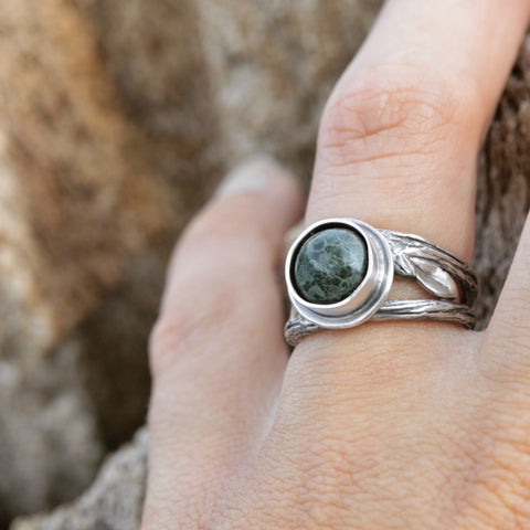 Summer Twig Ring made with recycled sterling silver and Michigan greenstone by Beth Millner Jewelry
