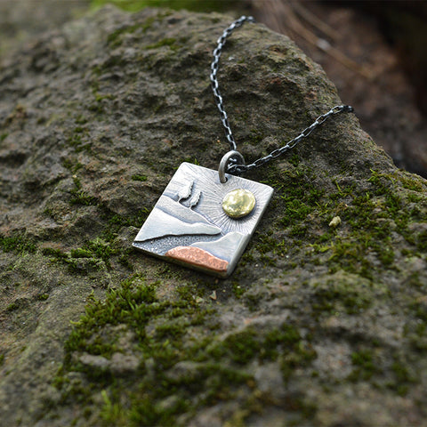 Noquemanon Trail Network square mixed metal pendant by Beth Millner Jewelry