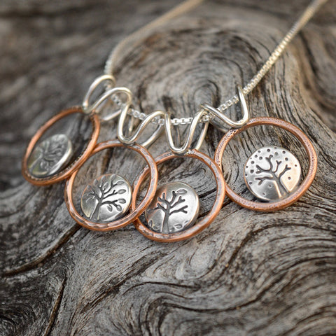 Four Season Lentil Tree Hoop Pendants with recycled sterling silver and copper by Beth Millner Jewelry