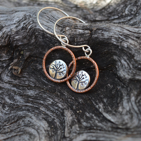 Spring Lentil Tree Hoop earrings with recycled sterling silver and copper by Beth Millner Jewelry