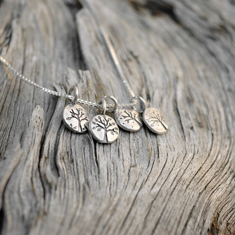 Four Season Lentil Tree charms with recycled sterling silver by Beth Millner Jewelry