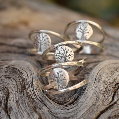 Four Season Lentil Tree double banded rings with recycled sterling silver by Beth Millner Jewelry