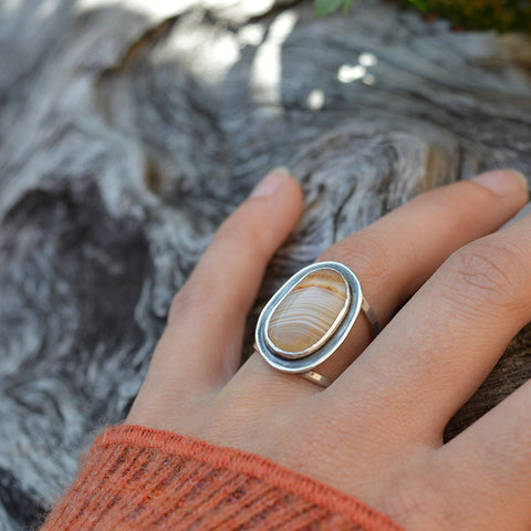 Large Lake Superior agate double banded recycled sterling silver ring by Beth Millner Jewelry