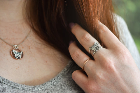 Rose Gold Twig Ring and silver Butterfly ring handmade by Beth Millner Jewelry