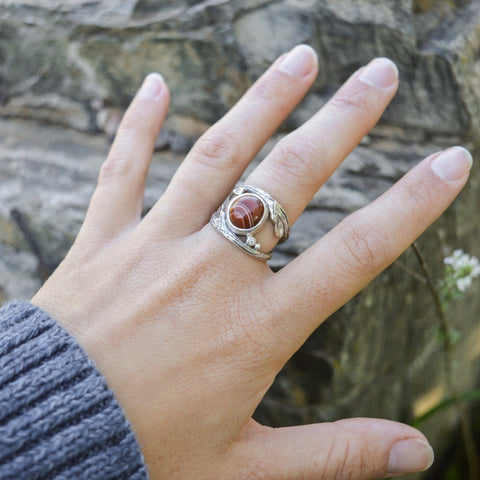 Twig ring by Beth Millner Jewelry featuring ethically sourced diamonds and Lake Superior agate