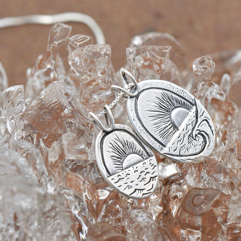 New Beginnings on the Shoreline pendants made with recycled sterling silver by Beth Millner Jewelry