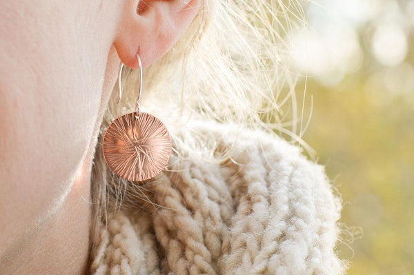New Year Radial Copper Earrings by Beth Millner Jewelry
