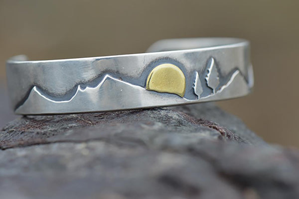 New Year Sunrise Mountain Pines Cuff by Beth Millner Jewelry