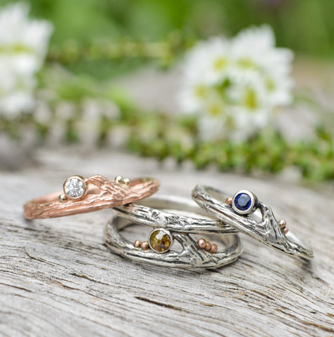 Selection of Twig Rings with diamonds and sapphires by Beth Millner Jewelry
