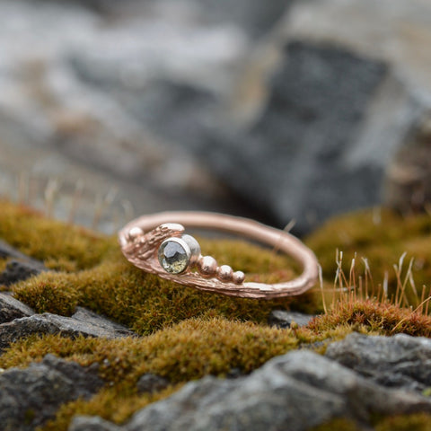 Rustic rose cut diamond and rose gold twig ring by Beth Millner Jewelry