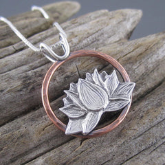 Handmade Lotus Flower Pendant Michigan Lupus Foundation Fundraiser by Beth Millner Jewelry