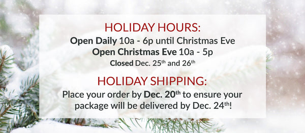 Beth Millner Jewelry Holiday Hours and Christmas Shipping cut-off