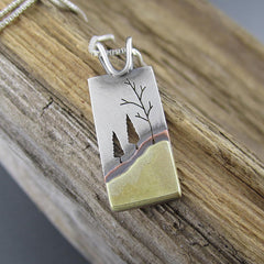 Handmade Blended Forest Family Mixed Metal Pendant by Beth Millner Jewelry