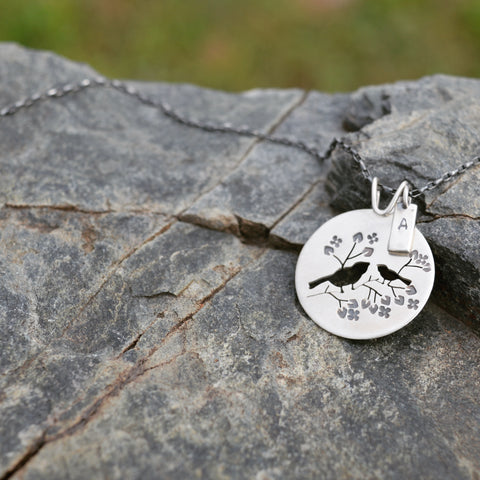 Personalize Bird Pendant With Letter Charm by Beth Millner Jewelry