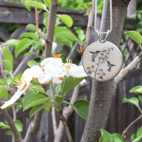 Hummingbird Garden Pendant by Beth Millner Jewelry