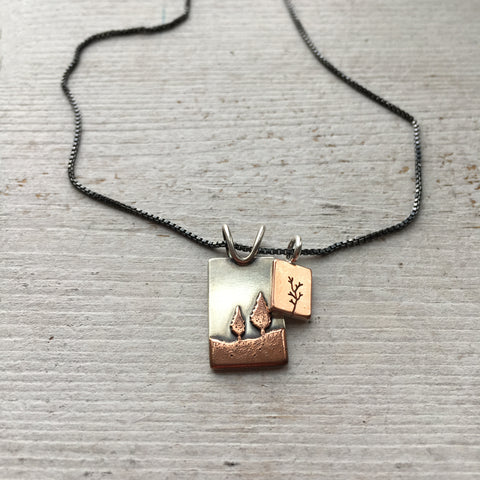 Conifer Pendant Paired with Tree Charm by Beth Millner Jewelry