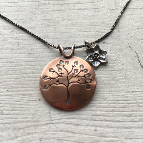 Summer Tree Pendant with Daffodil Charm by Beth Millner Jewelry