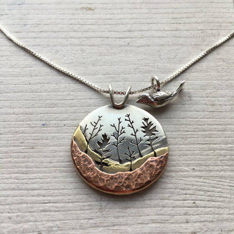Bird Charm With Heritage Trail Pendant by Beth Millner Jewelry