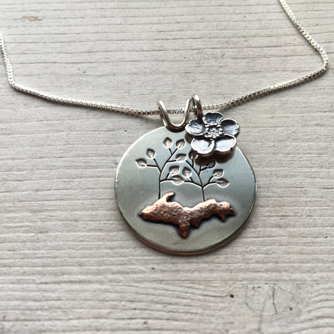 UP Family Tree Pendant With Buttercup Charm by Beth Millner Jewelry