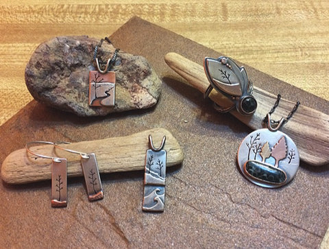 nature Beth Millner Jewelry water trees greenstone copper silver