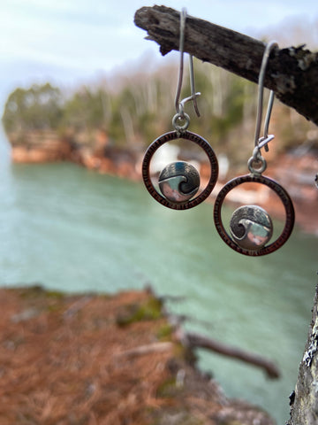 Mini Cresting Wave earrings at Pictured Rocks by Grace