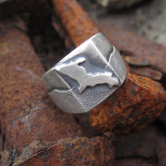 Handmade Sterling Silver Upper Peninsula Yooper Ring by Beth Millner Jewelry