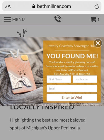 Scavenger Hunt Giveaway Pop-Up by Beth Millner Jewelry